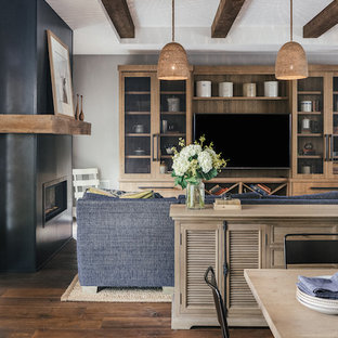 Farmhouse Living Room with Blue Accents