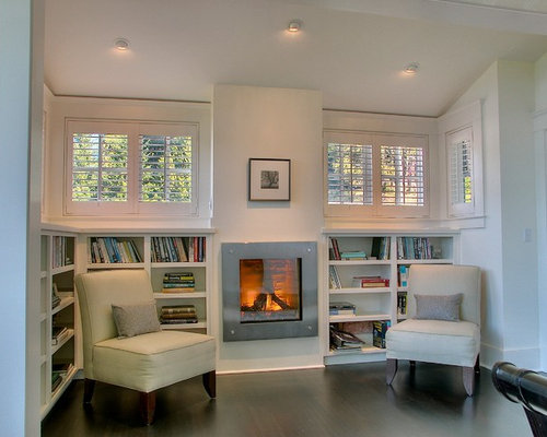 Wrap around bookshelf home design ideas pictures remodel for Bookshelves next to fireplace