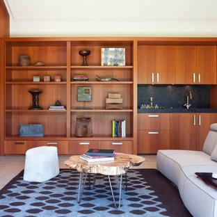 Immagine di un grande soggiorno design con cornice del camino in pietra, pareti marroni e camino classico