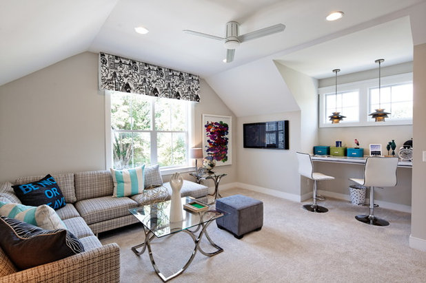 Transitional Family Room by Fox Point Designs