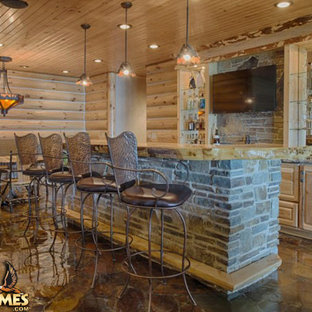 Finished basement in log home Lakehouse 4166AL by Golden Eagle