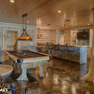 Finished lower level rustic basement Lakehouse 4166AL by Golden Eagle