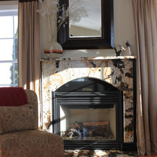 Contemporary Family Room by Capstone Marble and Granite / Boston