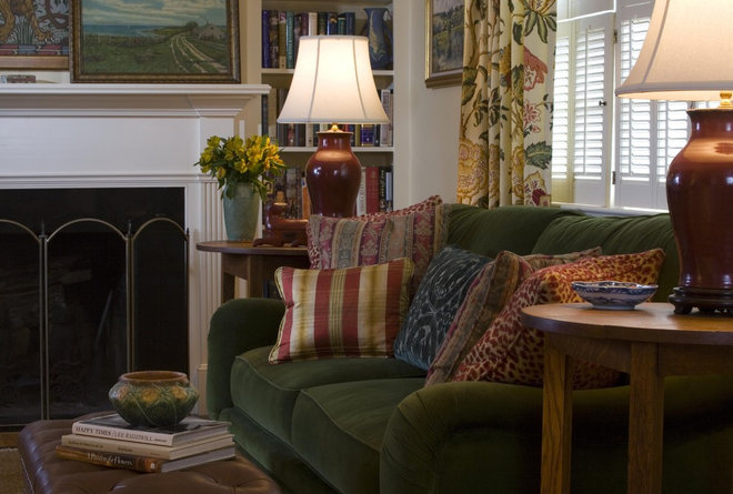 Traditional Family Room Fireplace Comfort