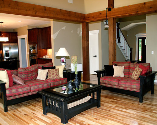 Rustic open concept family room idea in Detroit with beige walls and ...