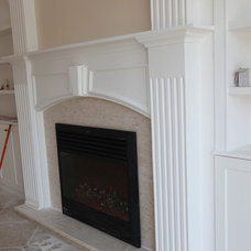 Mediterranean Family Room fireplace