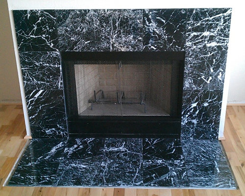 Fireplace Black And White Marble Tile