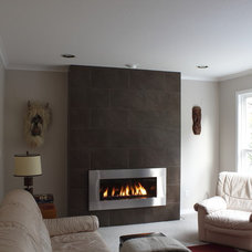 Contemporary Family Room Fireplace wall