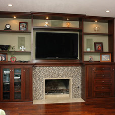 Transitional Family Room by Pacific Coast Custom Design