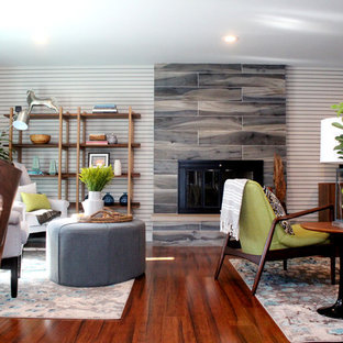 Fireplace with Blue Wood Grained Tile