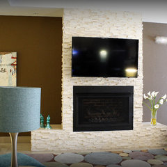 contemporary media room by aZura Stoneworks
