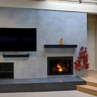Ispirazione per un grande soggiorno moderno aperto con pareti blu, pavimento in cemento, camino classico, cornice del camino in intonaco e parete attrezzata