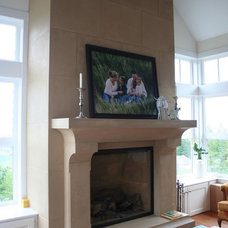 Transitional Family Room by Lyonstone Designs Inc.