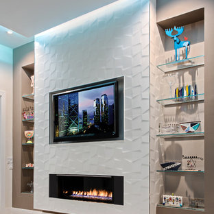 Huge trendy open concept porcelain tile family room photo in Miami with white walls, a ribbon fireplace, a tile fireplace and a wall-mounted tv