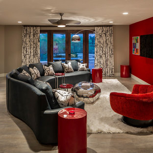 Large trendy open concept porcelain floor family room photo in Phoenix with a bar, red walls, no fireplace and a wall-mounted tv