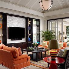 Tropical Family Room by John David Edison Interior Design Inc.