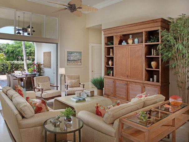 Tropical Family Room by RLH Studio