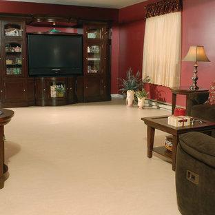 Immagine di un grande soggiorno chic chiuso con pareti rosse, pavimento in linoleum e parete attrezzata