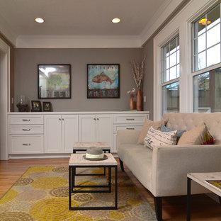 Trendy Enclosed Medium Tone Wood Floor Family Room Photo In Portland With Gray Walls No