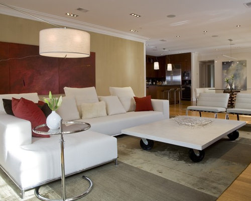 Contemporary Open Concept Light Wood Floor Family Room Idea In DC Metro With Beige Walls