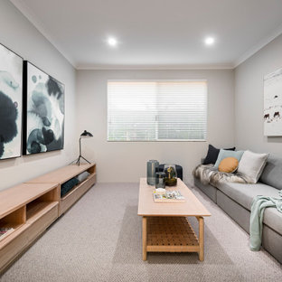 Photo of a contemporary family room in Perth.