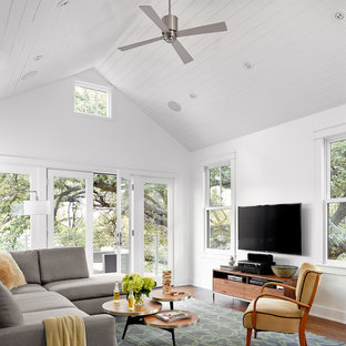 Inspiration For A Farmhouse Dark Wood Floor Family Room Remodel In Austin With White Walls