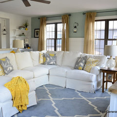 eclectic family room Four Generations One Roof family room before & after