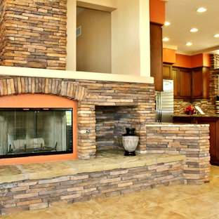 Idee per un soggiorno chic di medie dimensioni con pavimento in linoleum