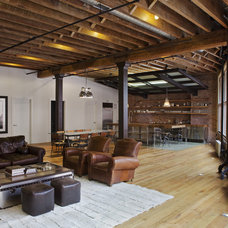 Industrial Family Room by Jane Kim Design