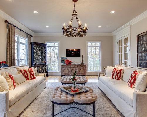 Elegant Formal And Enclosed Light Wood Floor Beige Living Room Photo In Nashville With