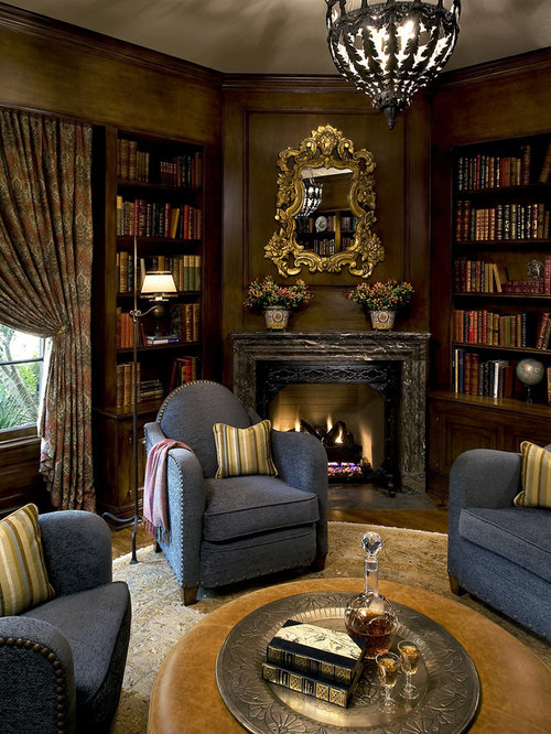 Nz Study Room: Library Fireplace Design Ideas & Remodel Pictures