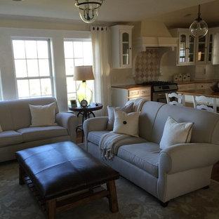 Diseño de sala de estar abierta, campestre, pequeña, con suelo de madera en tonos medios, televisor colgado en la pared y paredes amarillas