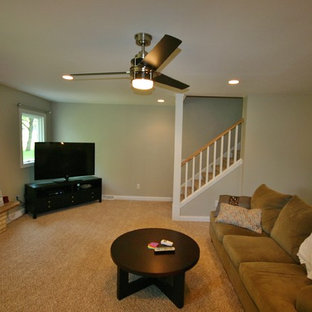 ミルウォーキーの中くらいのコンテンポラリースタイルのおしゃれなオープンリビング (茶色い壁、カーペット敷き、標準型暖炉、レンガの暖炉まわり、コーナー型テレビ) の写真