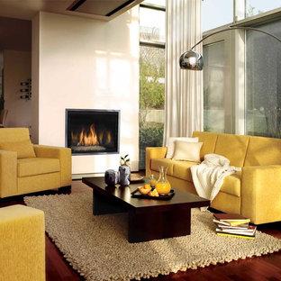 Immagine di un soggiorno minimalista di medie dimensioni e aperto con pareti beige, pavimento in legno massello medio, camino classico e cornice del camino in metallo