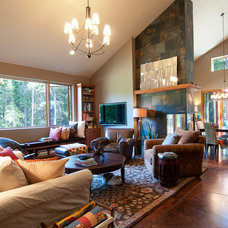 Transitional Family Room by Louise Lakier