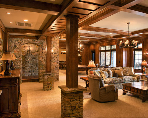 Stone And Wood Columns Houzz