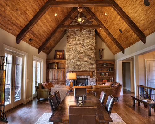 Dark stained wood beams houzz