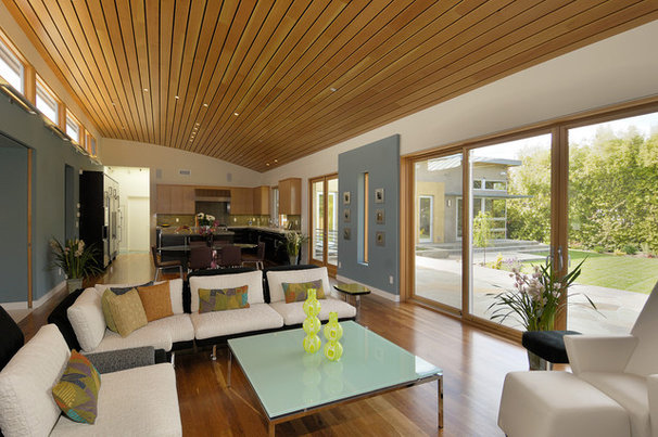 Contemporary Family Room by square three design studios