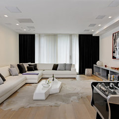 modern family room by d'apostrophe design, inc.