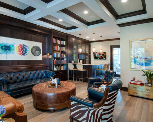 Inspiration For A Timeless L Shaped Medium Tone Wood Floor And Brown Floor  Seated Home