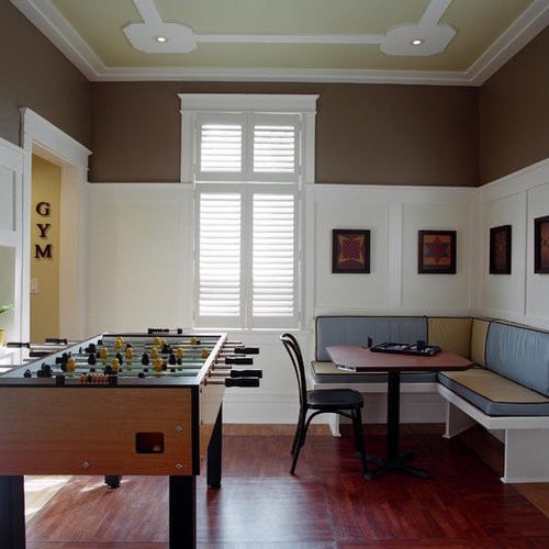 Traditional Enclosed Dark Wood Floor Game Room Idea In Montreal With Brown  Walls Part 65
