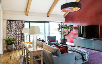 Room of the Day:  Underwhelming Garage Now an Upbeat Living Room