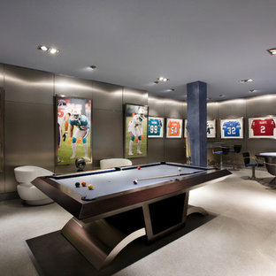 This is an example of a contemporary family room in Miami.