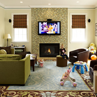 Traditional family room in DC Metro with a tile fireplace surround.