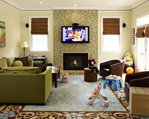 living room artwork. Traditional family room idea in DC Metro with a tile fireplace Living Room Art  Houzz
