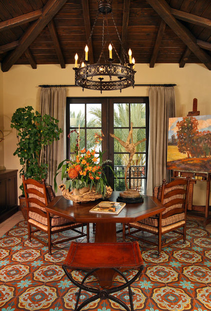 Mediterranean Family Room by GARY FINLEY, ASID