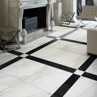 シドニーの中サイズのコンテンポラリースタイルのおしゃれな独立型ファミリールーム (ライブラリー、グレーの壁、磁器タイルの床、標準型暖炉、レンガの暖炉まわり、白い床) の写真