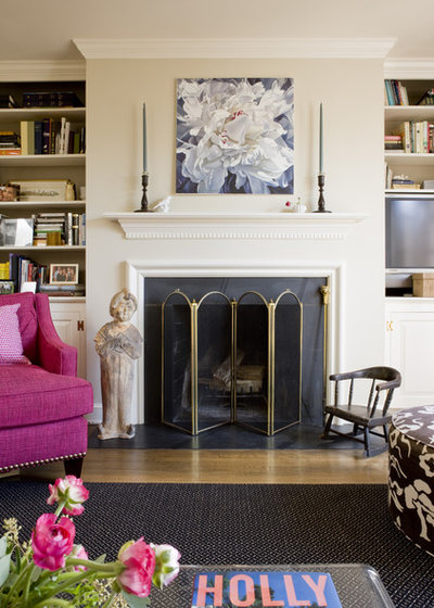 Transitional Family Room by Liz Levin Interiors