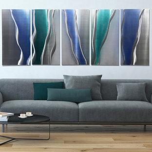 Свежая идея для дизайна: гостиная комната в стиле модернизм - отличное фото интерьера