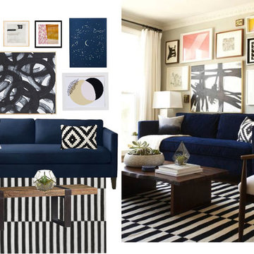 Glam modern eclectic family room